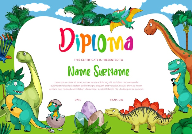 Kids diploma with  dinosaurs, cute  dragons, funny baby dino characters in eggs. Premium Vector