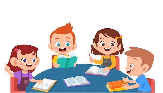 Kids discuss homework Premium Vector