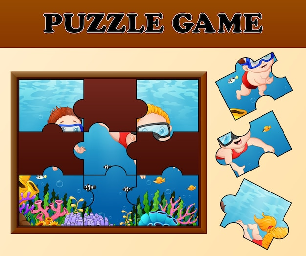 Kids diving with puzzle concept Premium Vector