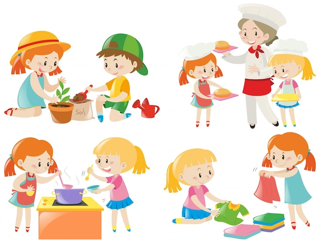 Kids doing different chores Free Vector