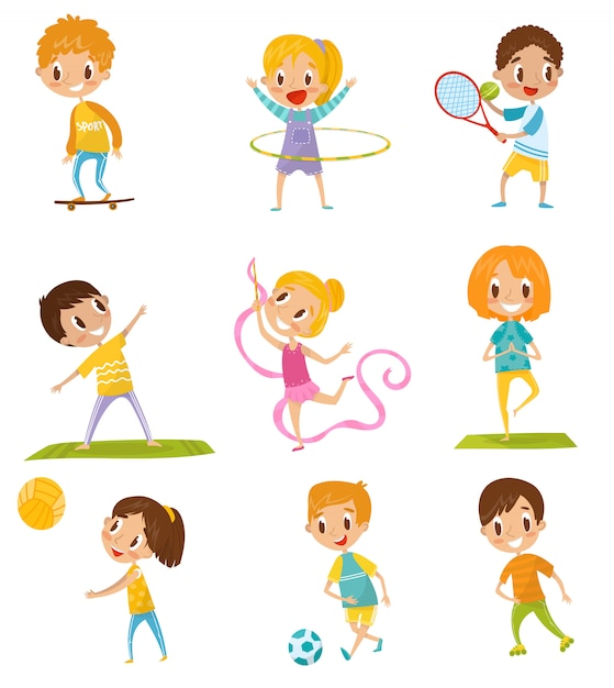 다른 종류의 스포츠 세트, 스케이트 보드, 테니스, 체조, 요가, 농구, 흰색 배경에 축구 삽화를하는 아이들 프리미엄 벡터