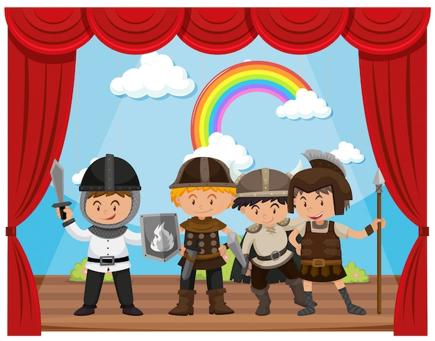 Kids doing drama show on stage Free Vector