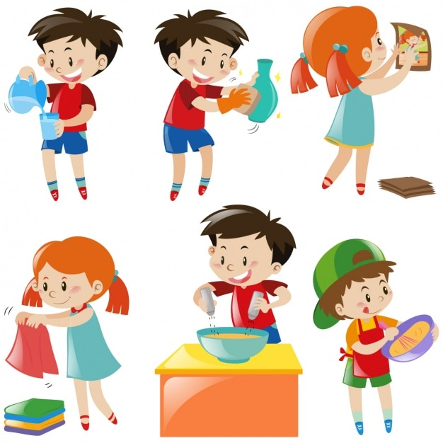 Kids doing homework Free Vector