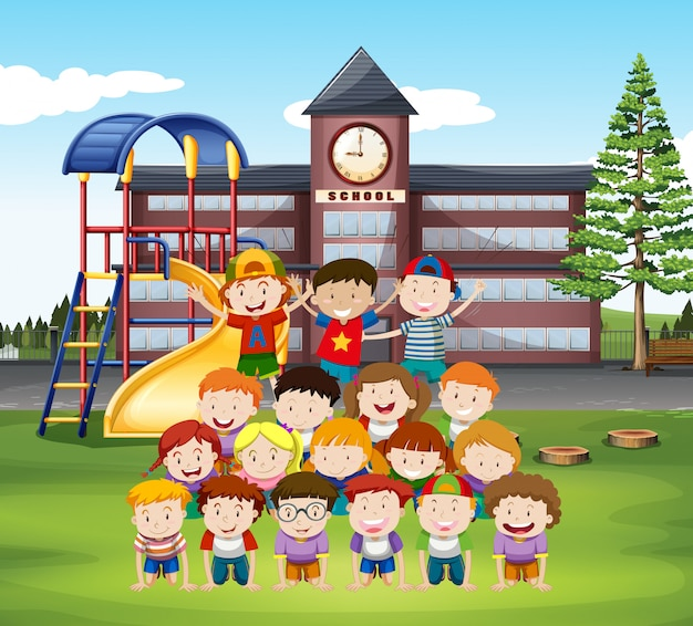 Kids doing human pyramid at school Free Vector