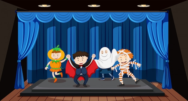 Kids doing role play on stage Free Vector