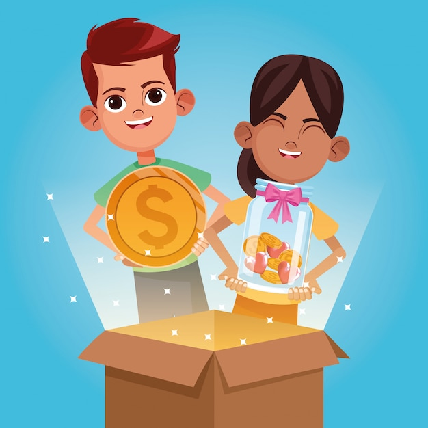 Kids donation and charity cartoon Premium Vector