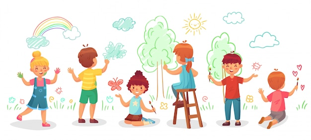 Kids drawing on wall. childrens group draw color paintings on walls, child paint art cartoon  illustration Premium Vector