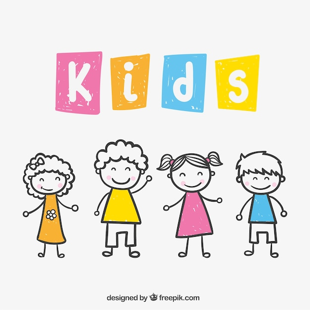 Kids drawing Vector Free Download