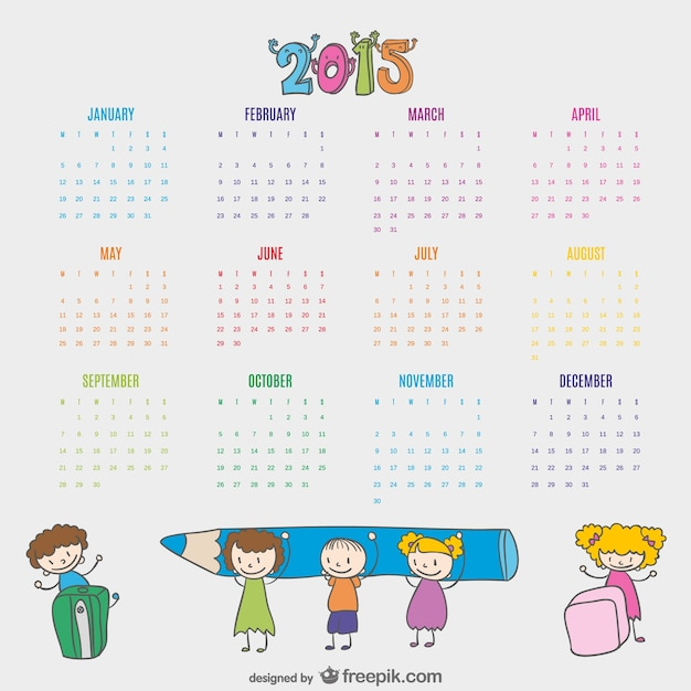 kids drawn calendar 2015 vector free download