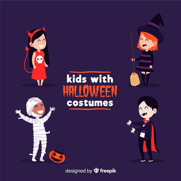 Kids dressed as monsters for halloween on purple background Free Vector