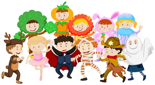 Kids dressing up in different costumes Free Vector