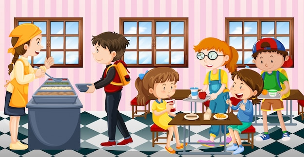 Kids eating lunch at the canteen Premium Vector