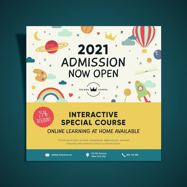 Kids education admission square flyer design Free Vector
