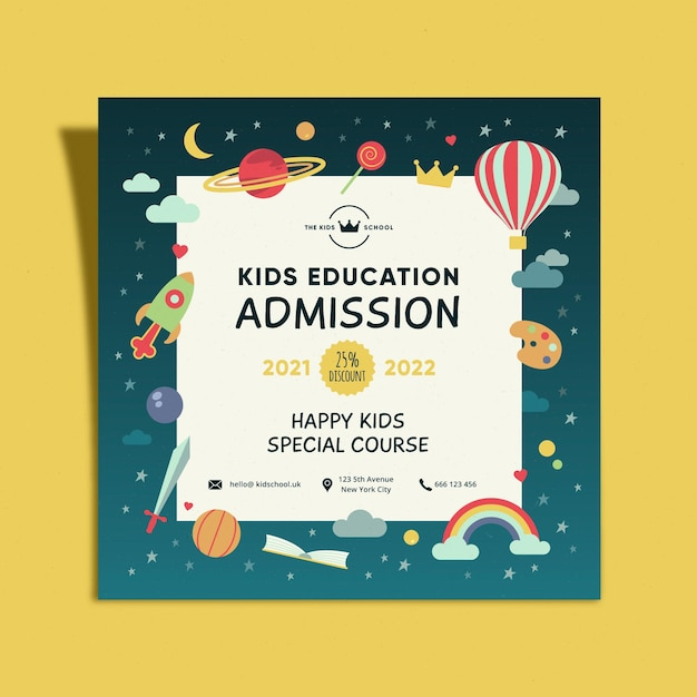 Kids education admission square flyer Free Vector