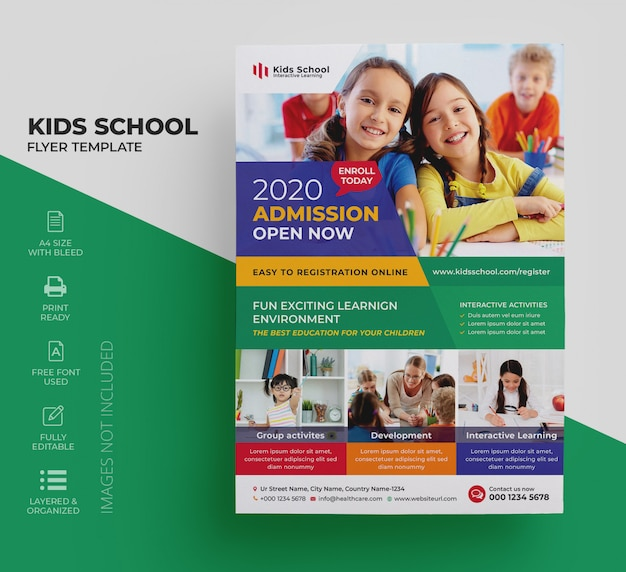 Kids education flyer Premium Vector