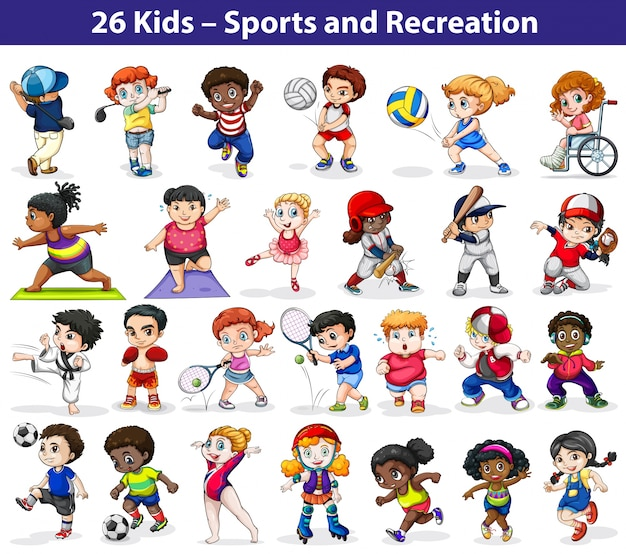 kids engaging in different indoor and outdoor activities on a white background - Free Children Images