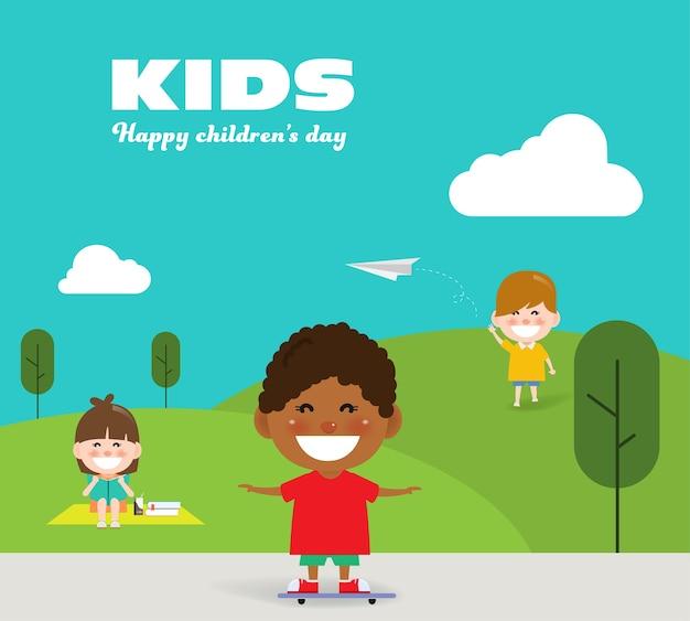 Kids enjoying in the park on children's day. Premium Vector