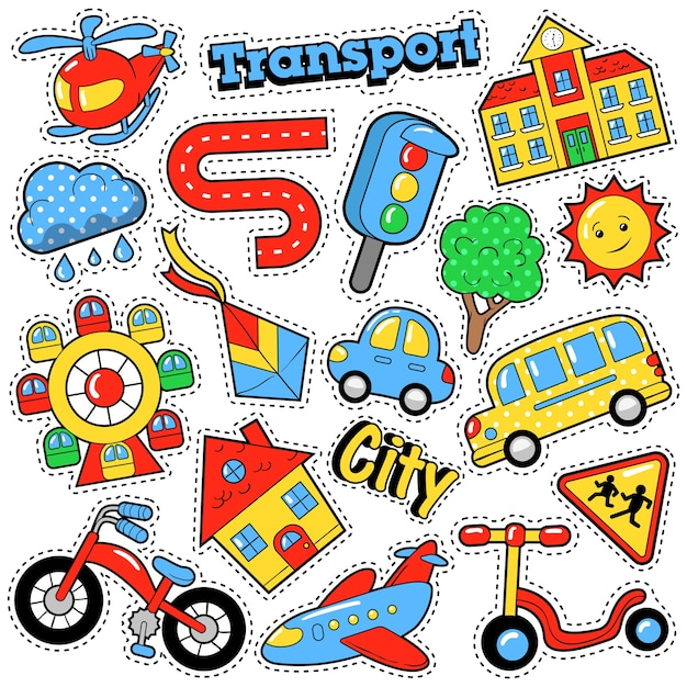 Kids fashion badges, patches, stickers in comic style education city transport theme with bicycle, cars and bus.  retro background Premium Vector