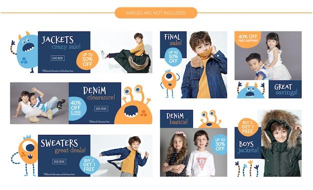 Kids fashion sale banners set Premium Vector