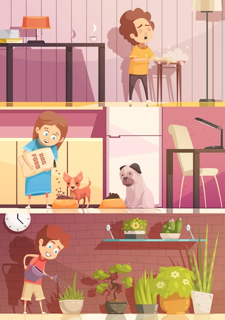 Kids feeding pets watering plants and cleaning rooms 3 horizontal retro cartoon banners set isolated Free Vector