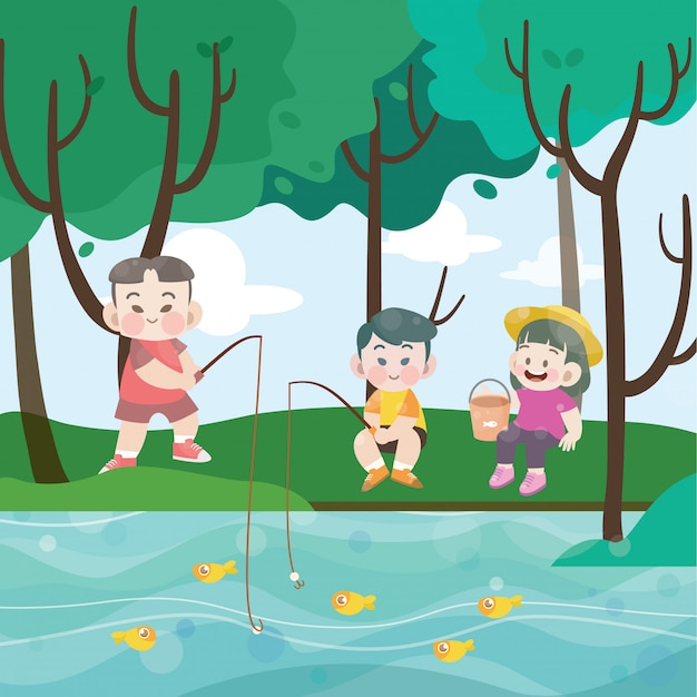 Kids fishing together vector illustration Premium Vector