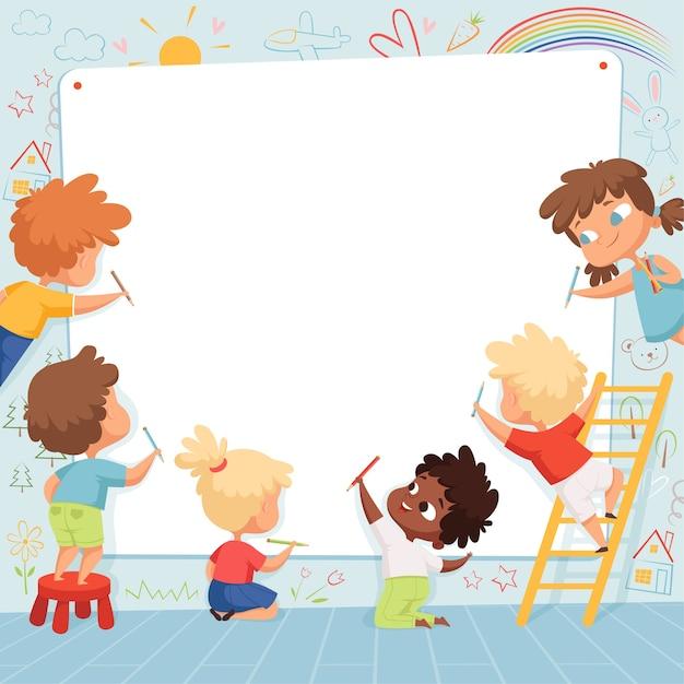 키즈 프레임. 귀여운 캐릭터 어린이 그림 그리기 및 텍스트 템플릿에 대 한 빈 자리를 재생합니다. 흰색 배너, 문자 유치원 화가 그림에 그리기 아이 프리미엄 벡터
