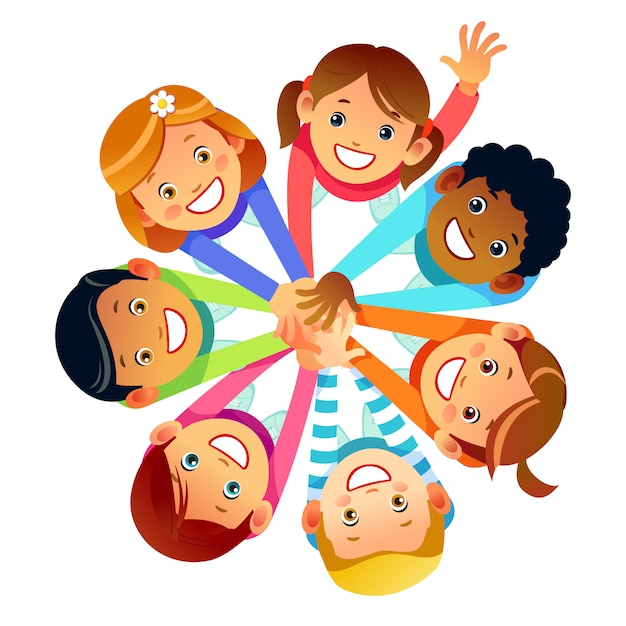 Premium Vector | Kids friends from around the world around their hands.  multinational friendship of children of friends of the world. cartoon stock  vector illustration isolated on white background.