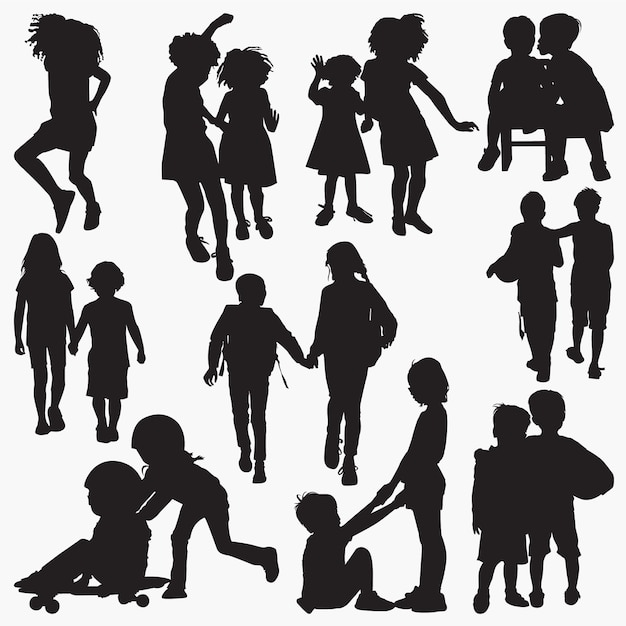Kids friendship silhouettes Premium Vector