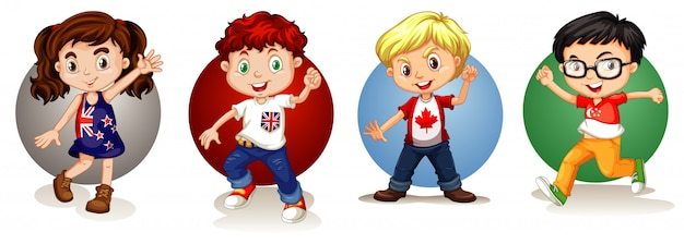 Kids from different countries Free Vector