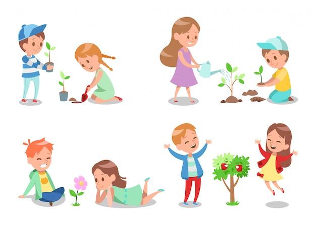 Kids gardening character design 2 Premium Vector