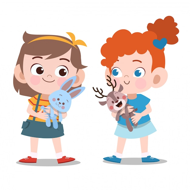 Kids girls playing with dolls Premium Vector