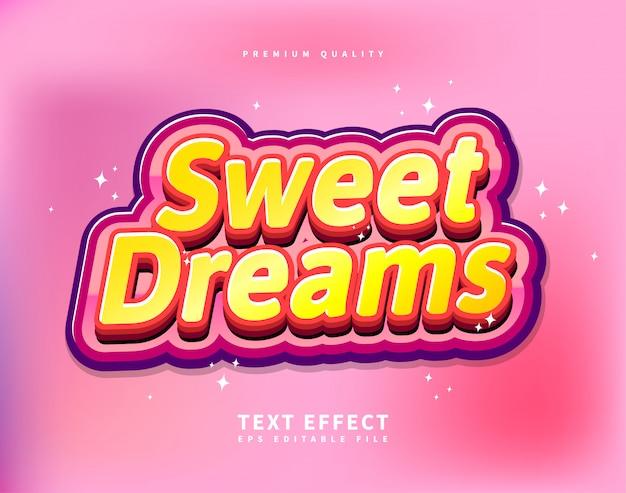 Эффект «симпатичный текст» для kids glossy colorful логотип стиль шрифта Premium векторы