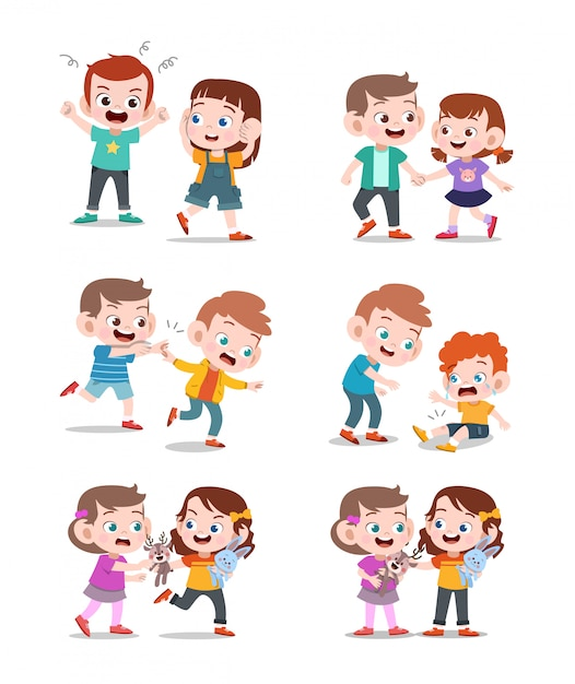 Kids good and bad Premium Vector
