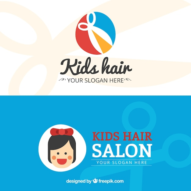 Kids hair salon flat business card vector premium download kids hair salon flat business card premium vector colourmoves