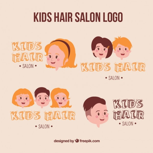 Kids Hair Salon Logo Collection Vector Free Download