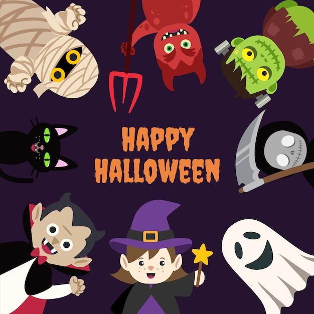 Kids halloween cartoon monster with space Premium Vector