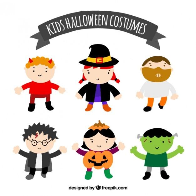 Kids halloween costumes Free Vector