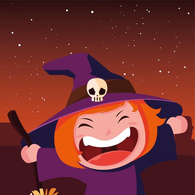 Kids in halloween costumes Premium Vector