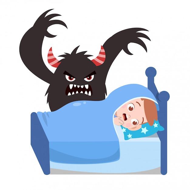 Kids having bad dream Premium Vector