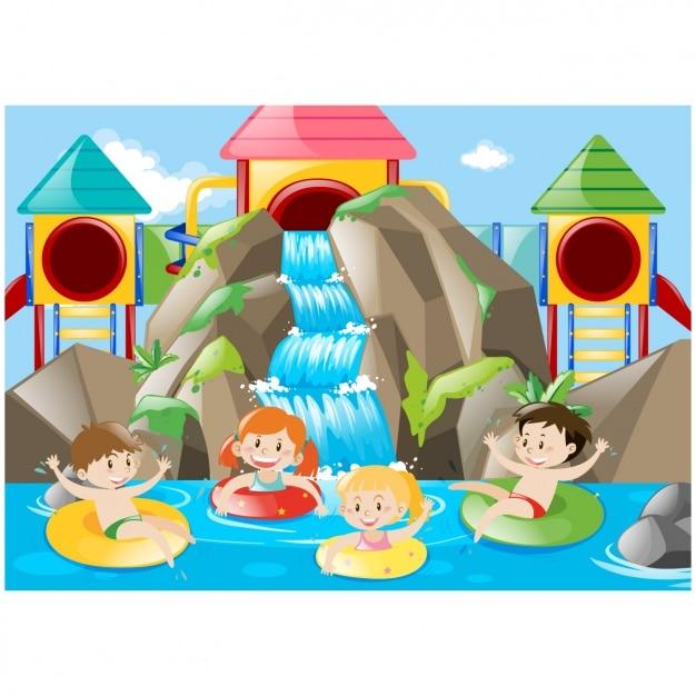 kids having fun n a water park vector free download Disney Water Parks Disney Water Parks