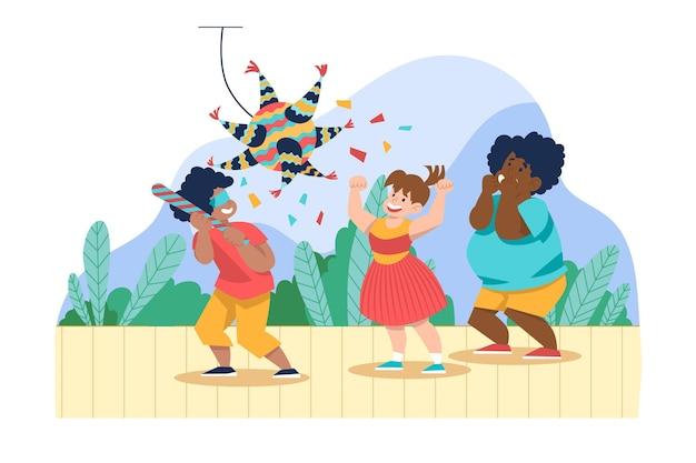 I bambini si divertono mentre festeggiano le posadas Vettore gratuito