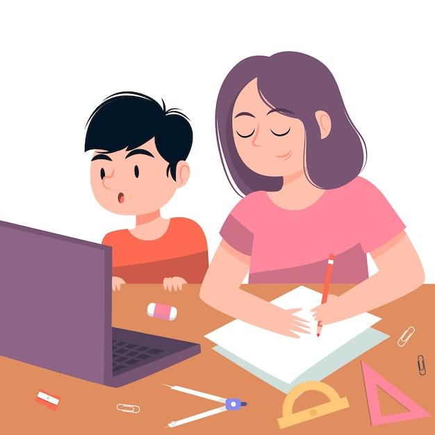 Kids having online lessons Free Vector