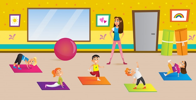 Kids having yoga in different poses with teacher. Premium Vector