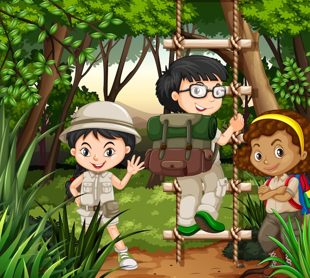 Kids hiking in the forest Free Vector