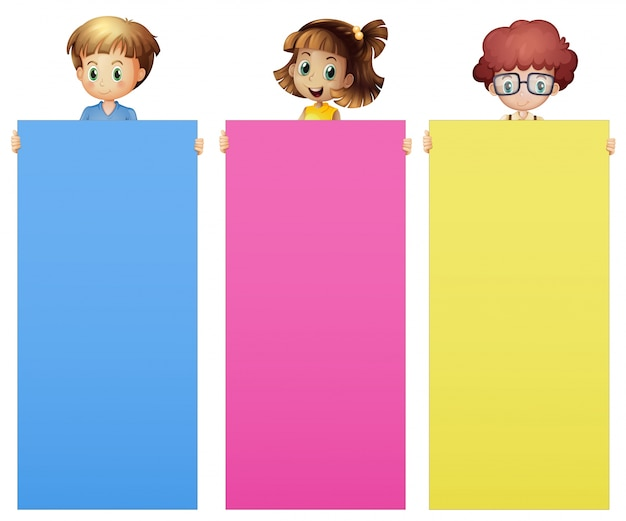 kids holding color papers illustration free vector - Color Papers