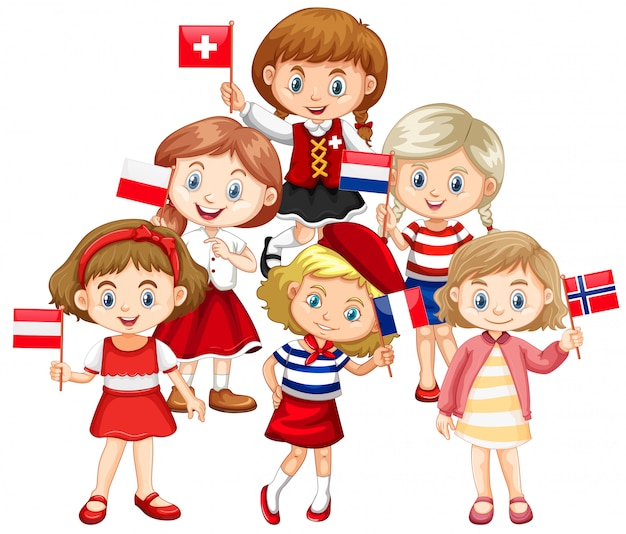 Kids holding flags from different countries Free Vector