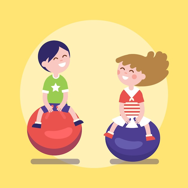 kids hopping on a jumping balls vector | free download