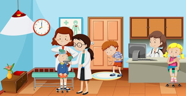 Kids in the hospital with doctors scene Free Vector