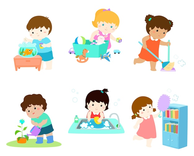 Kids do housework vector illustration set. Premium Vector