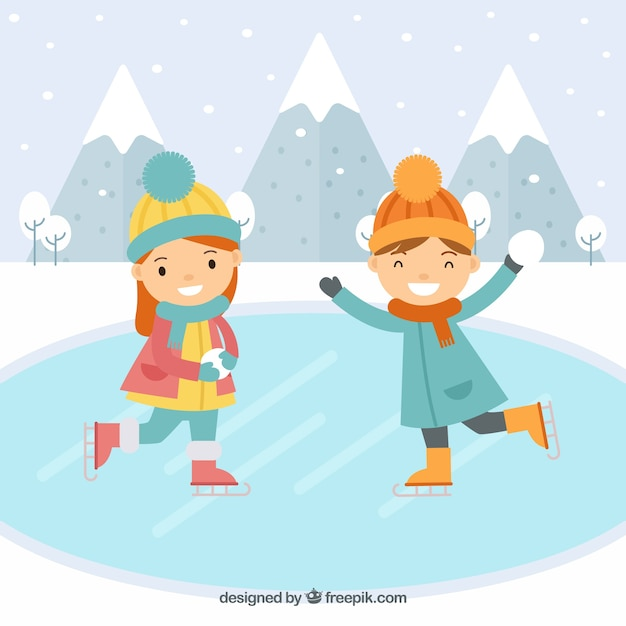 Kids ice skating flat background Vector | Free Download